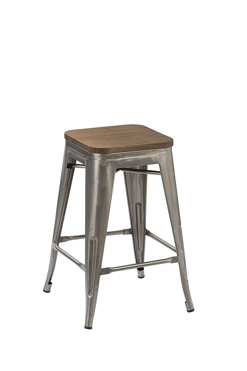 BTEXPERT 30-inch Industrial Stackable Tabouret Vintage Antique Rustic Clear Brush Distressed Metal Bar Stools wood top seat (Set of Two) 1