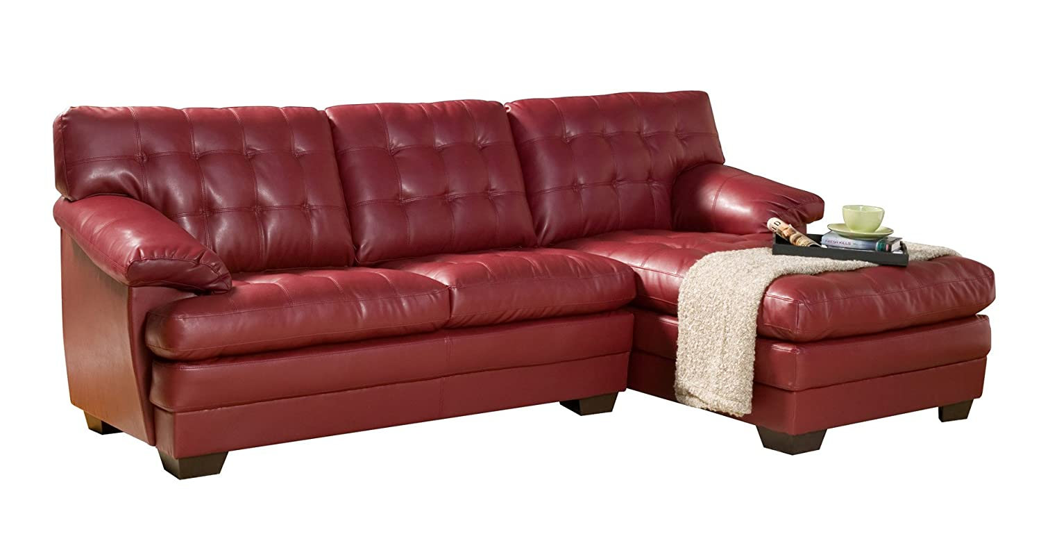 Homelegance 9739RED* Channel-Tufted 2-Piece Sectional Sofa Set - Red Bonded Leather