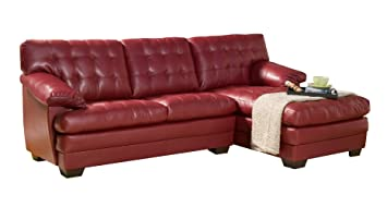 Homelegance 9739RED* Channel-Tufted 2-Piece Sectional Sofa Set, Red Bonded Leather