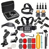 Action Camera Accessories Kit for GoPro HERO6/5/4/GoPro HERO5 Session/AKASO/CROSSTOUR/APEMAN/CAMPARK/YI/XIAOMI/VIVITAR/EKEN, Action Camera Mount 4K Sports Camera Attachments (Color: Black, Tamaño: small)