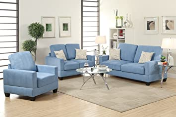 3-Pcs Sofa Set Upholstered in Breeze Colored Microsuede