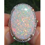 Yuren Women Jewelry Large 925 Silver Fire Opal Gemstone Ring Wedding Engagement Women Jewelry Sz6-10 (US Code 8) (Tamaño: US code 8)