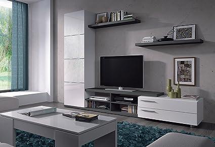 Ensemble meuble TV couleur blanc brillant / gris cendré - Dim : 240 x 42 x 180 cm -PEGANE-