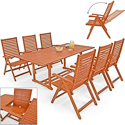 Salon de jardin UNIKKO eucalyptus - Tables & 6 chaises - terrasse