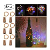 Wine Bottles String Lights, GardenDecor 6 Packs Micro Artificial Cork Copper Wire Starry Fairy Lights, Battery Operated Lights for Bedroom, Parties, Wedding, Decoration(6 Packs 2m/7.2ft ,Mutil Color) (Color: Mutil Color, Tamaño: small)