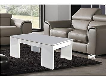Kendra table basse blanc avec avec plateau relevable - Kendra table basse blanche plateau relevable ...