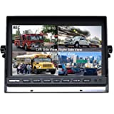 4 Split Screen 9'' Quad View Display HD Monitor with 4 Pin GX12-4 Aviation Connectors (Color: black, Tamaño: large)