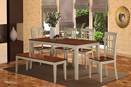 East West Furniture NICO6-WHI-W 6-Piece Dining Table Set, Buttermilk/Cherry Finish