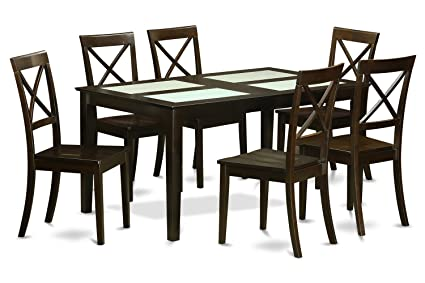 East West Furniture CABO7G-CAP-W 7-Piece Dining Table Set