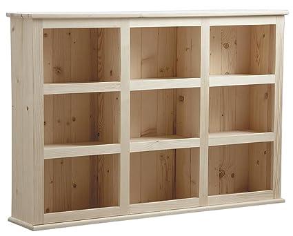 Etagère en bois d'épicéa brut 9 casiers - Dim : 130 x 26 x 90 cm -PEGANE-