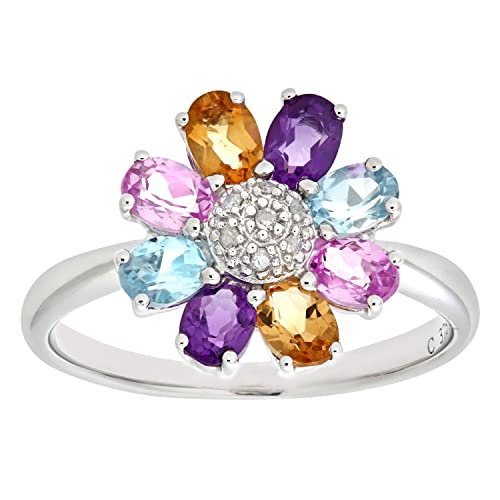 Naava 9ct White Gold Ladies Diamond, Citrine, Amethyst, Blue and Pink Topaz Ring