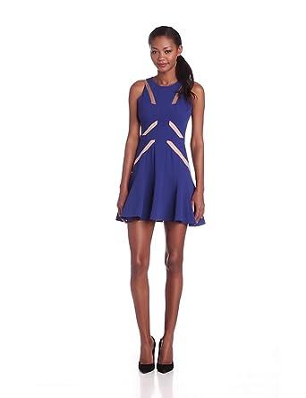 BCBGMAXAZRIA Women's Solie Tulle Insert Short Dress, Orient Blue Combo, 0