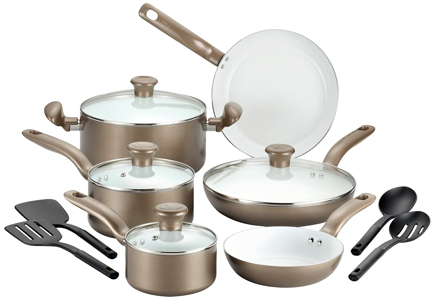 T Fal Initiatives Ceramic Nonstick Cookware Sets Ebay