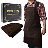 Shop Apron - Waxed Canvas Work Apron with Pockets | Waterproof, Fully Adjustable to Comfortably Fit Men and Women Size S to XXL | Tough Tool Apron to Give Protection and Last a Lifetime (Color: Brown)