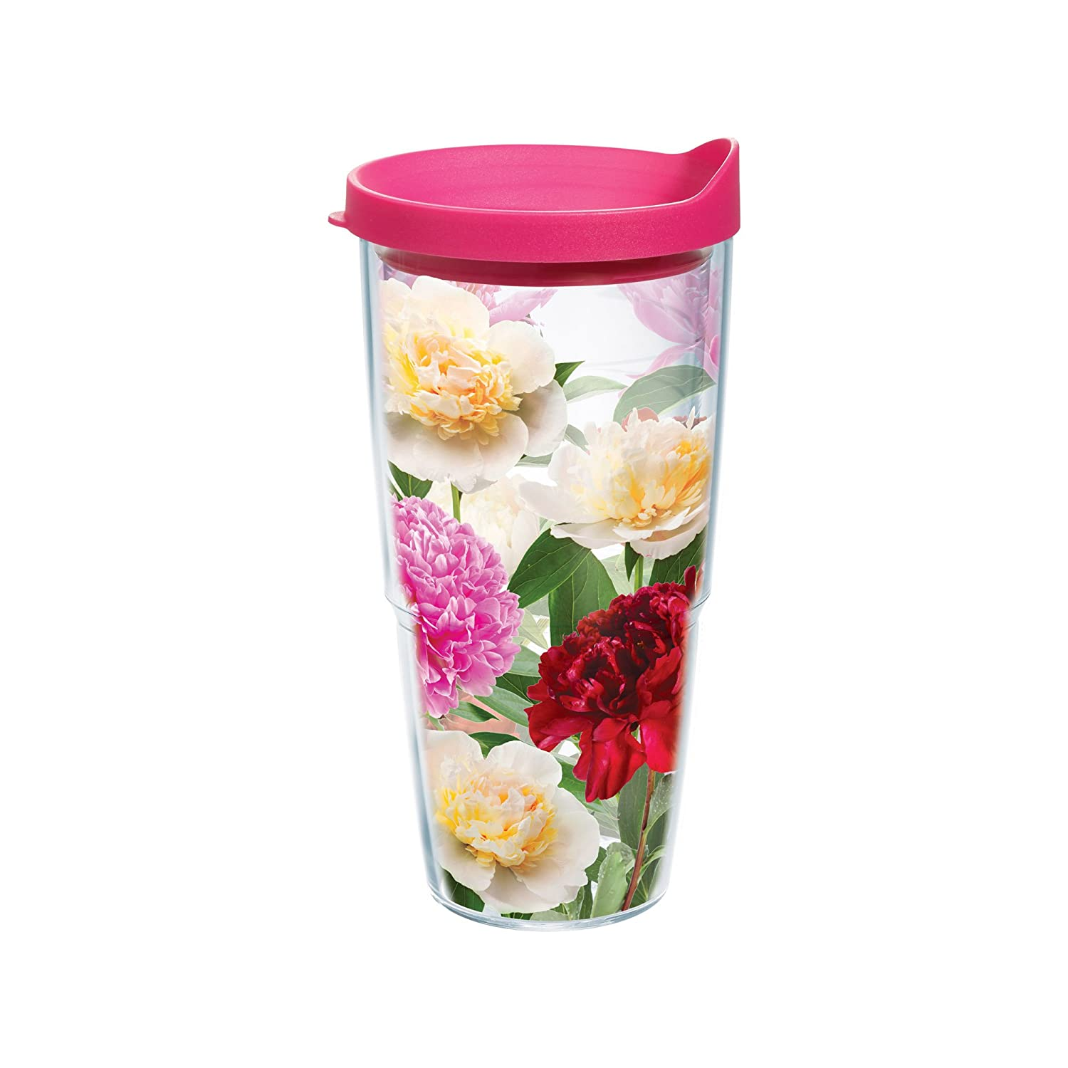 Tervis Peonies from Heaven Wrap Bottle with Fuchsia Lid, 24-Ounce, Garden Party tervis tumbler abilene christian acu wildcats water bottle with lid 24oz