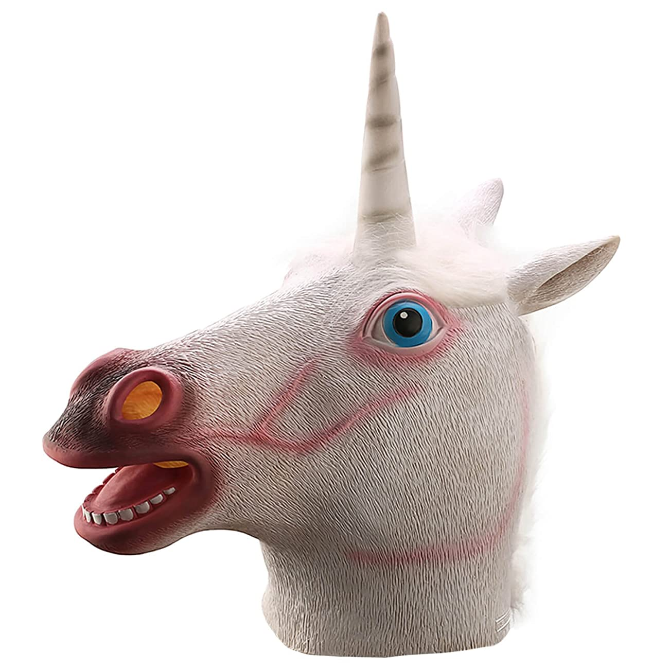 Ylovetoys Unicorn Head Mask Halloween Costume Party Novelty Latex Animal Mask 0