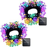 VMANOO Solar Outdoor Christmas String Lights 21ft 50 LED Fairy Flower Blossom Decorative Light for Indoor Garden Patio Party Xmas Tree Decorations 2-Pack (Multi-Color) (Color: Multi-color 2 Pack)