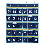 Hipiwe Numbered Classroom Organizer Pocket Chart for Cell Phones Calculator Holders with Hooks (30 Pockets, Blue Pockets) (Tamaño: 30 Pockets)