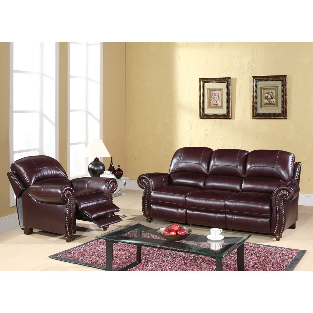 Leather Pushback Reclining Sofa and Chair