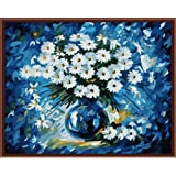 CaptainCrafts New Paint by Number Kits - Blue Daisy Flower 16x20 inch - DIY Painting by Numbers for Adults Beginner Kids (with Frame) (Color: With Frame, Tamaño: 16x20)
