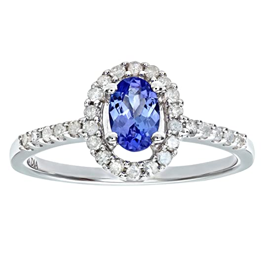 Naava 9ct White Gold Tanzanite and Diamond Cluster Ring With Diamond Shoulders