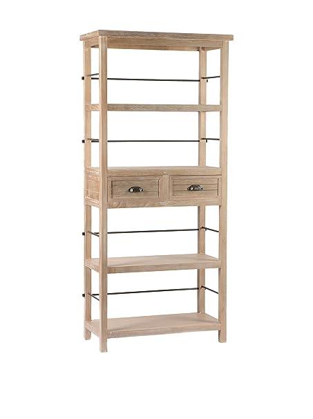 Bibliothèque 4 niveaux 2 tiroirs en bois brut