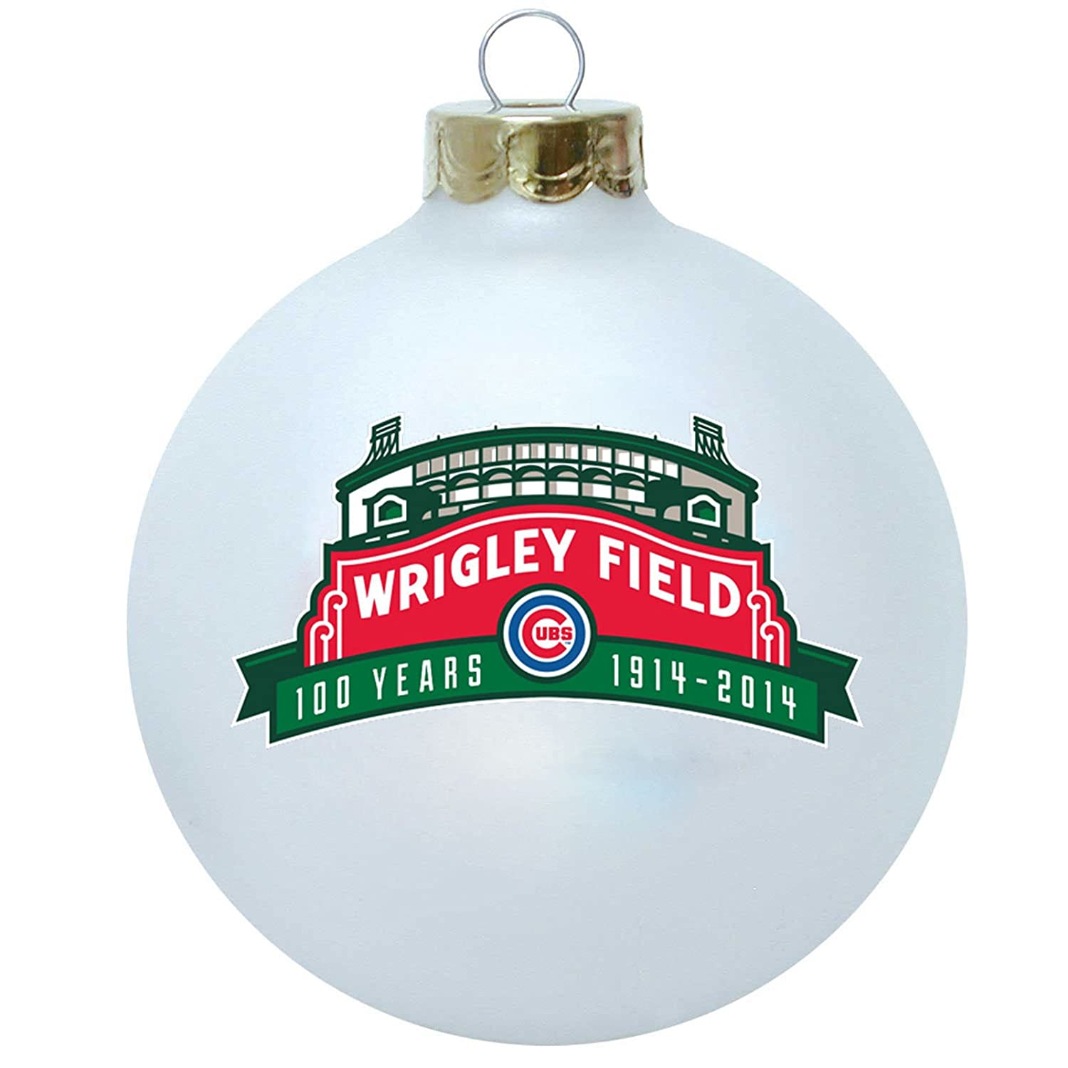 White Wrigley Field Anniversary Ornament