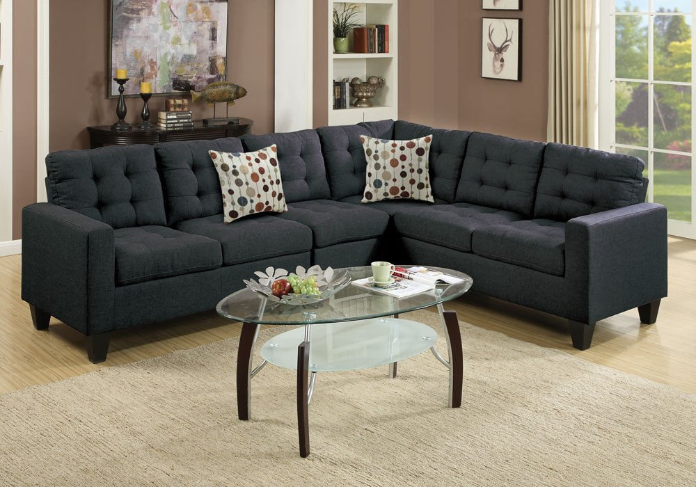1PerfectChoice Reversible Sectional Sofa Couch Loveseat Wedge Plush Tufted Seat Black Polyfiber