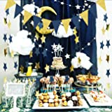 Outer Space Decorations Birthday Party Decorations Navy Gold Triangle Banner 2pcs Navy Blue Glitter Gold Paper Star Garlands Star String for Prince Twinkle Twinkle Little Star Baby Shower Decorations (Color: Navy Gold)