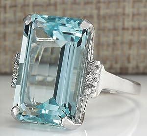 Zhiwen Vintage Fashion Women 925 Silver Aquamarine Gemstone Ring Engagement Wedding Jewelry Size 5-11 (11#) (Color: Aquamarine Gemstone, Tamaño: 11#)