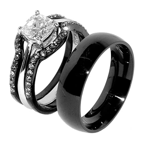 His & Hers 4 PCS Black IP Stainless Steel Wedding Ring Set/Mens Matching Band