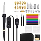 45 PCS Wood Burning Kit, 60Wpyrography Pen/Wood Burning Pen with Adjustable Temp 200~450? and ON/OFF Switch+Embossing/Carving/Soldering Tips +Stencil +Pencils+ Stand + PU Case