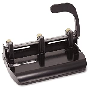 Officemate Heavy Duty Adjustable 2-3 Hole Punch with Lever Handle, 32-Sheet Capacity, Black (90078) (Pack of 4) (Tamaño: Pack of 4)