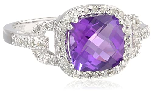 10k White gold or platinum, Pillow-Minimize Amethyst, in addition to White colored Engagement ring, Size of it 7