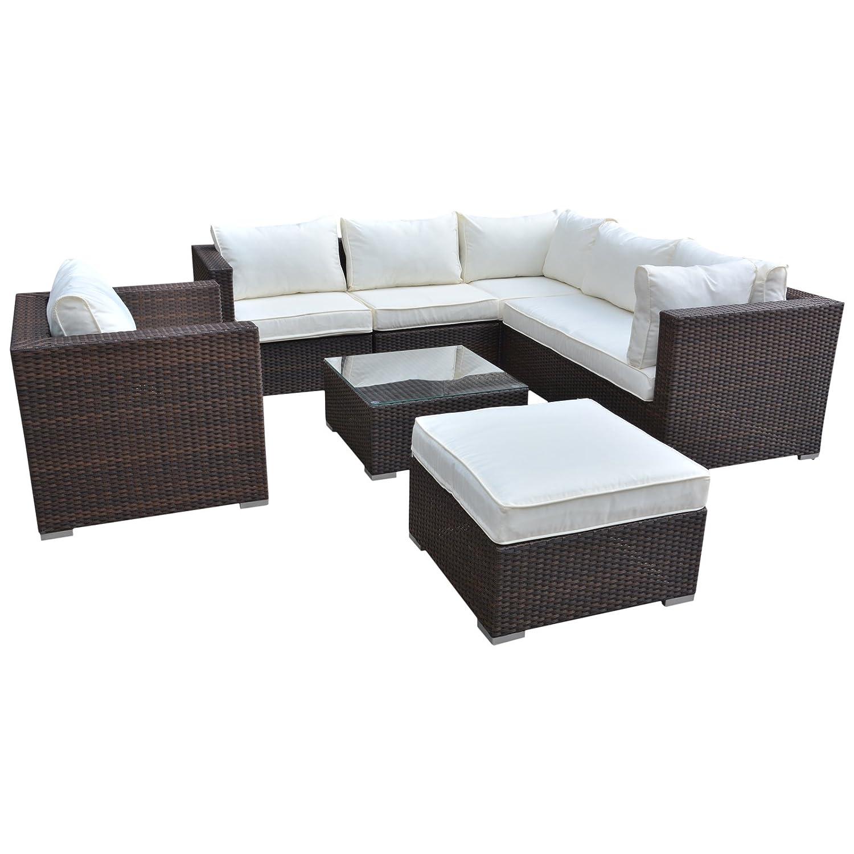 Polyrattan Lounge Sitzgruppe Gartenmöbel Garnitur Poly Rattan 3 bis 7 Sitzplätze plus Hocker (6 Sitzplätze + 1 Hocker (Variant A)) günstig