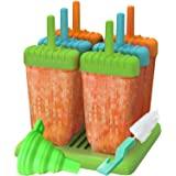 Ozera Reusable Popsicle Molds Ice Pop Molds Maker - Set of 6 - With Silicone Funnel & Cleaning Brush - Green/Blue/Orange
