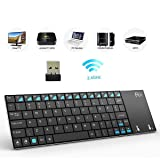 Rii K12 Ultra Slim Portable Mini Wireless KODI Keyboard with Large Size Touchpad Mouse Stainless Steel Cover and Rechargeable Li-Ion Battery, 2.4 GHz (Color: K12-US-fba)