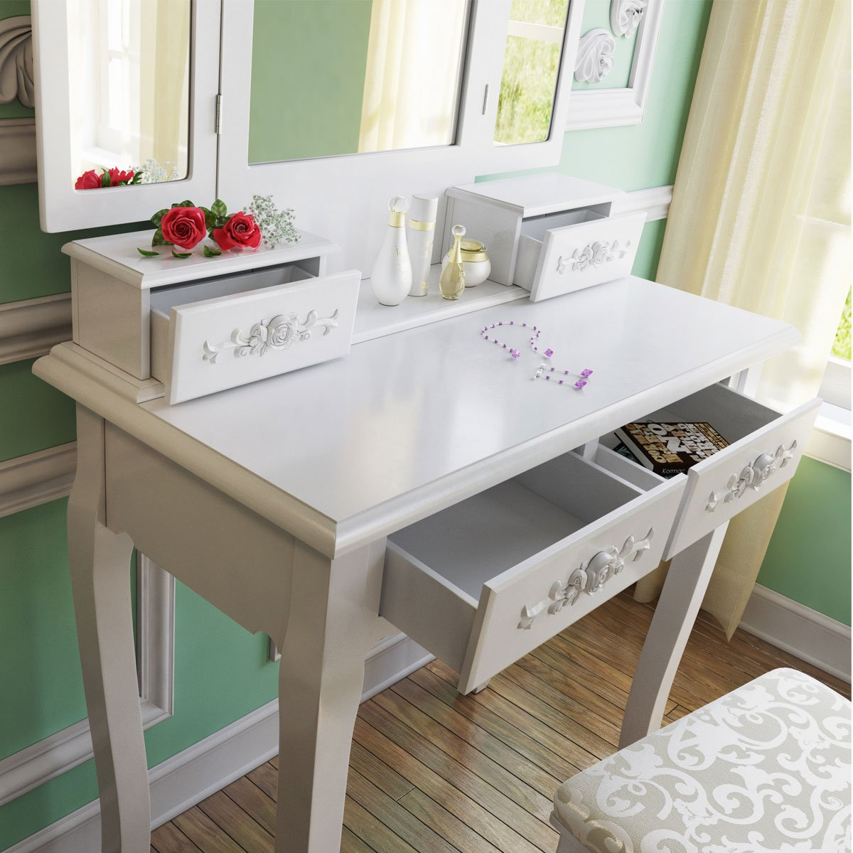 Tribesigns Wood Makeup Vanity Table Set with 3 Mirror and Stool Bedroom Dressing Table Dresser Desk, White 3