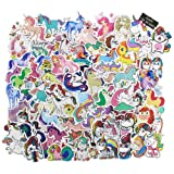 Unicorn Stickers Decals 100 pcs, Cute Laptop Stickers Fun Vinyl Waterproof Sticker for Kids Snowboard Skateboard Water Bottles Car Motorcycle - Funny Love Aesthetic Stickers Bomb Pack (Color: B)