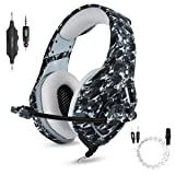 Gaming Headset with Microphone for PS4 PC Xbox One,Stereo Over Ear Gamer Headphones with Mic Noise Cancelling for Laptop,Mac,Smart Phones,Nintendo Switch,Playstation 4 -Camo (Color: Grey Camouflage)