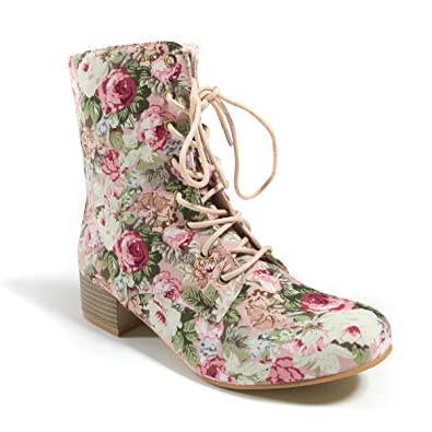 white and pink shabby chic floral combat boots
