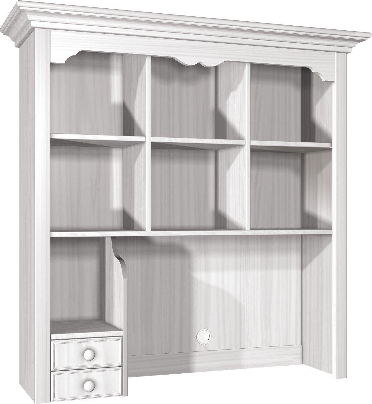 """Firstloft 501-3100 Schreibtisch-Set """"Cinderella Premium"""" bestehend aus Schreibtisch inklusive Aufsatz, 132 x 206 x 58 cm, Kiefer, teilmassiv, weiß"""