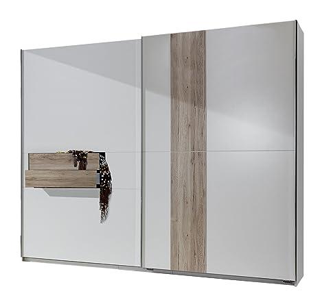 fresh to go 636617 Schwebeturenschrank, 250 x 218 x 65 cm mit zwei Schubkästen, Front und Korpus Alpinweiß / Absetzungen San Remo Eiche Nachbildung
