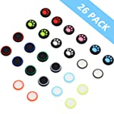 26 Pieces Replacement Thumb Grips Caps Cover Silicone Luminous Analog Controller Joystick Thumb Stick Cap, Compatible with PS4 PS3 PS2 Xbox 360 Xbox One Controllers