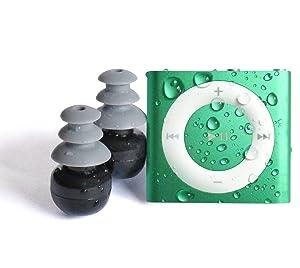 Underwater Audio 100% Waterproofing compatible with iPod Shuffle, Swimbuds Flip, AquaGuard, iFloatie, and Fitgoo (Classic Green) (Color: Green)