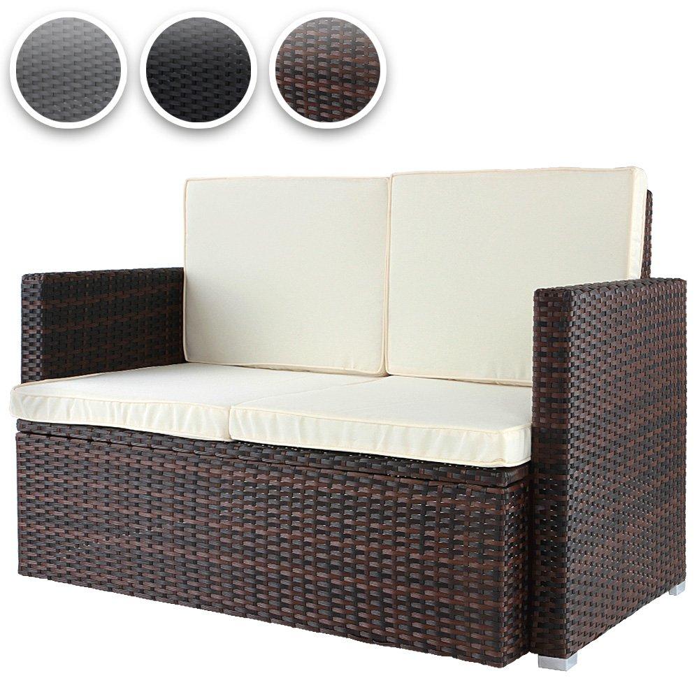 Polyrattan Sofa Loungesofa Gartensofa Polyrattansofa mit gemütlichen Sitzkissen 117x65x75cm in 3 verschiedenen Farben günstig online kaufen