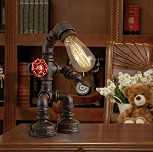 Desk Lamp, Frideko Retro Industrial Rust Iron Water Pipes Table Lamp for Bedside Desk (Robot Steampunk) (Color: Robot Steampunk)