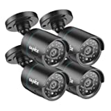 SANNCE 4 Pack HD-TVI 720P Camera 1.0MP Hi-Resolution Weatherproof Bullet Camera for Video Security System with Long Distance Night Vision (Color: White)
