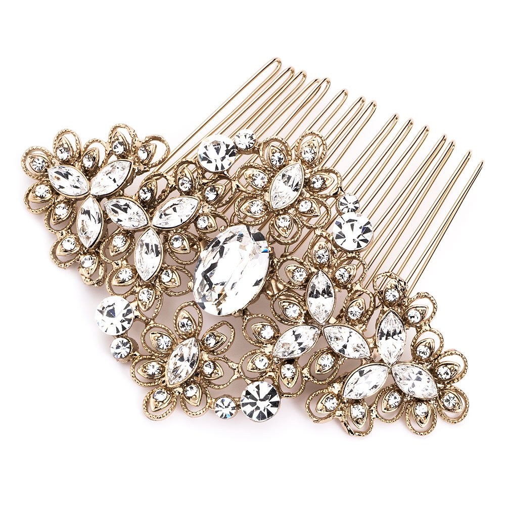 USABride Vintage Gold Tone Wedding Comb Filigree Bridal Hair Accessory 2241-G 0