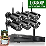 ?2019 Update? OOSSXX HD 1080P 8-Channel Wireless Security Camera System,6 pcs 1080P 2.0 Megapixel Wireless Weatherproof Bullet IP Cameras,Plug Play,70FT Night Vision,P2P,App, No Hard Drive (Color: Full HD 8 Channel 1080P System+ 6Pcs 1080P Cameras + NO HDD)
